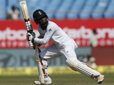 Moeen Ali in action against India during the first Test in Rajkot. AP