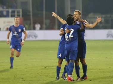Mumbai City FC players celebrate Krisztian Vadocz goal against Chennaiyin FC. ISL