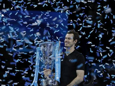 Andy Murray holds the ATP Finals trophy. AP