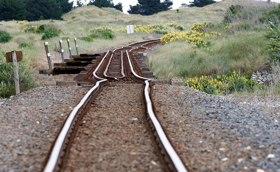 A railway line is damaged by an earthquake, near Tirohanga stream south of Blenheim on the South Island of New Zealand, November 14, 2016. REUTERS