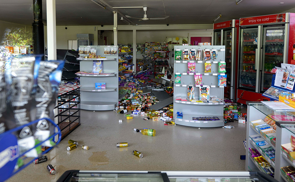 A supermarket in Waiau, 120 kms north of Christchurch, shows damage in the aftermath of a 7.5 magnitude earthquake on November 14, 2016 in Waiau, New Zealand. The 7.5 magnitude earthquake struck 20km south-east of Hanmer Springs at 12.02am and triggered tsunami warnings for many coastal areas. Getty Images