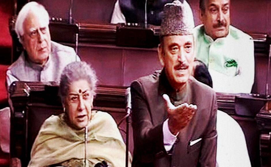 Opposition leader Ghulam Nabi Azad speaks in the Rajya Sabha on the opening of the winter session of Parliament in New Delhi on Wednesday. PTI Photo / TV GRAB (PTI11_16_2016_000060B)