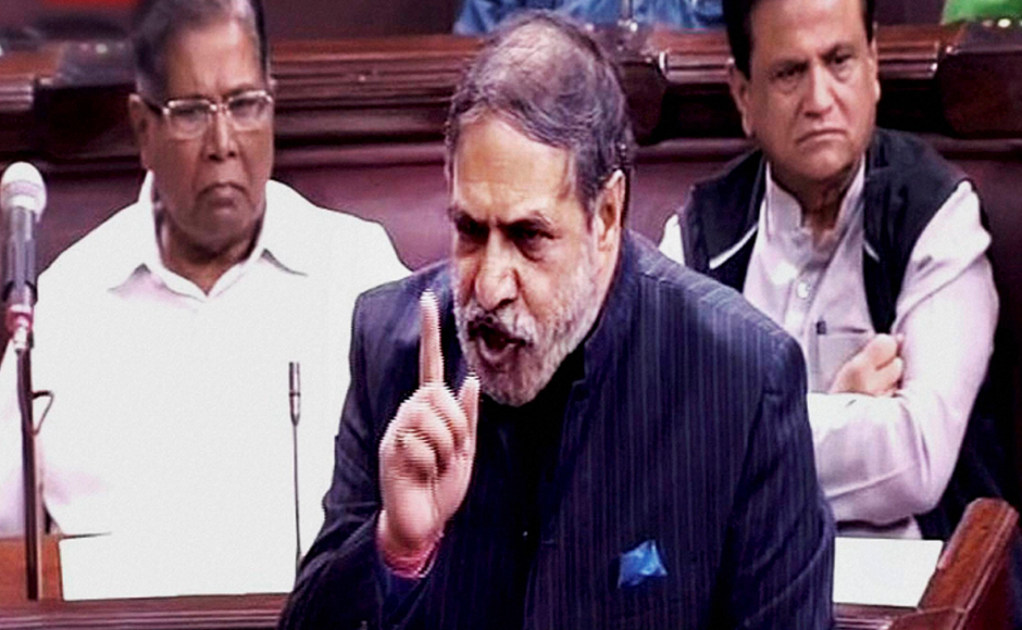 Congress leader Anand Sharma speaks in the Rajya Sabha on the opening of the winter session of Parliament in New Delhi on Wednesday. PTI Photo / TV GRAB (PTI11_16_2016_000065B)