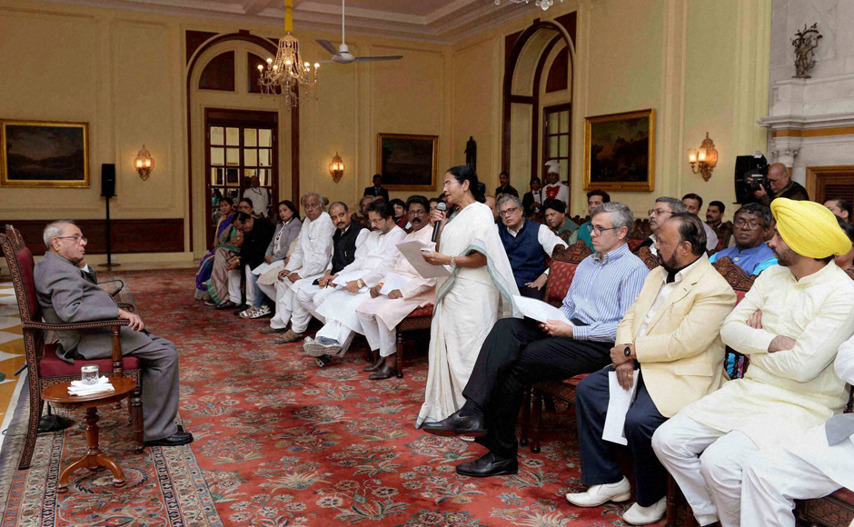 West Bengal Chief Minister Mamata Bannerjee speaks as a delegation of MPs meeting President Pranab Mukherjee over demonetisation issue, at Rashtrapati Bhavan in New Delhi on Wednesday. PTI Photo (PTI11_16_2016_000179B)