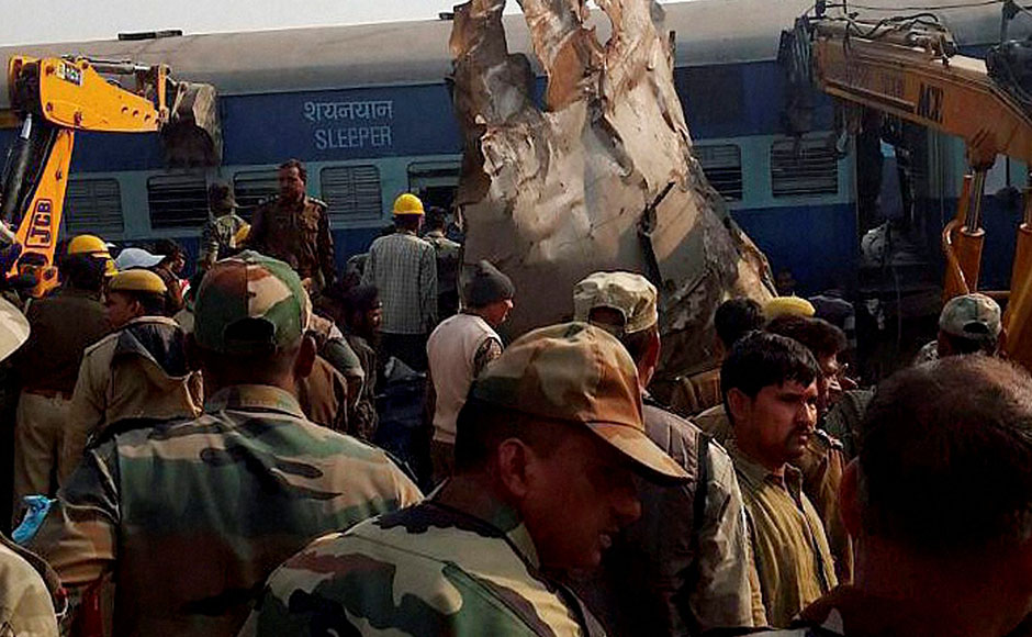 Kanpur: Rescue officials on the spot where 14 coaches of the Indore-Patna express derailed, killing around 90 people and injuring 150, in Kanpur Dehat on Sunday. PTI Photo(PTI11_20_2016_000011B)