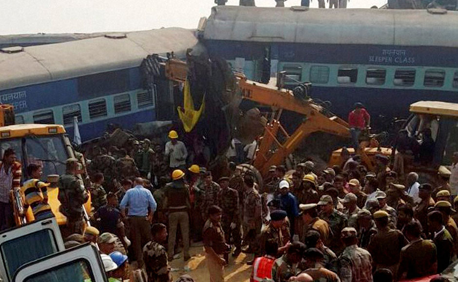 Kanpur: Rescue officials on the spot where 14 coaches of the Indore-Patna express derailed, killing around 90 people and injuring 150, in Kanpur Dehat on Sunday. PTI Photo(PTI11_20_2016_000018B)