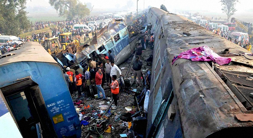 Rescue and relief work in progress after the Indore-Patna Express derailed near Kanpur Dehat on Sunday. PTI