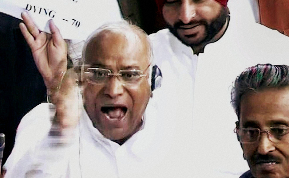 Congress leader Mallikarjun Kharge speaks in the Lok Sabha during the winter session of Parliament in New Delhi on Tuesday. PTI Photo / TV GRAB (PTI11_22_2016_000041B)