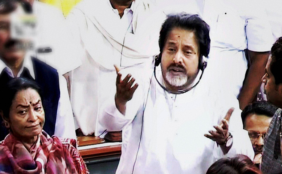 TMC member Sudip Bandyopadhyay speaks in the Lok Sabha during the winter session, in New Delhi on Tuesday . PTI Photo / TV GRAB (PTI11_22_2016_000063B)