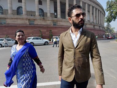 Cricketer Yuvraj Singh with his mother Shabnam Singh at Parliament in New Delhi on Thursday to invite Prime Minister Narendra Modi for his wedding reception with model and actress Hazel Keech. PTI