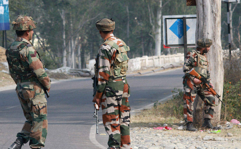 In one incident, a group of heavily-armed terrorists in police uniform stormed an army unit in Nagrota, very close to the Corps headquarters on the outskirts of Jammu city on Tuesday morning, triggering an intense gunbattle that lasted for hours.  (Photo: PTI)