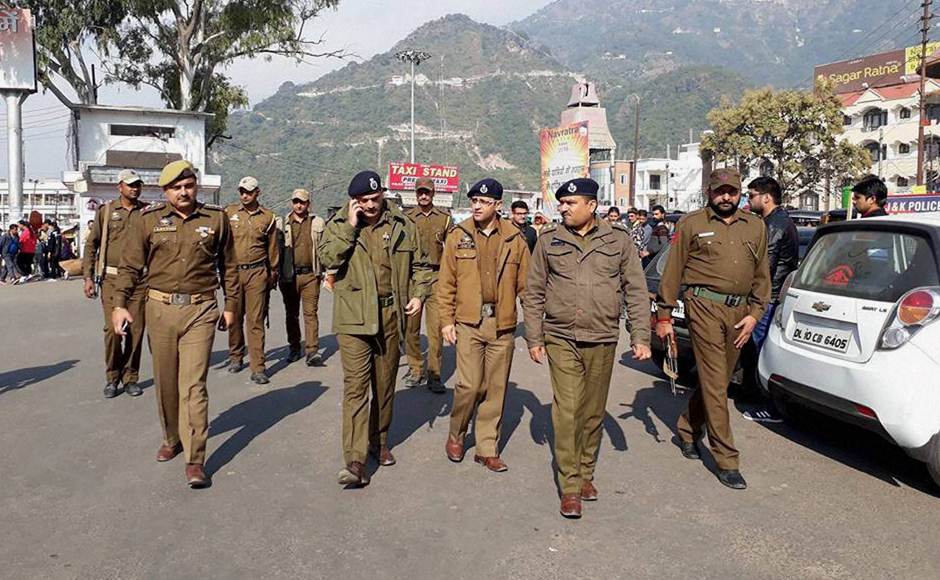 After around eight hours of heavy exchange of fire, security forces managed to kill three terrorists, however, the number of militants who entered the army premises could not be confirmed. Security on high alert in Katra following Nagrota terror attack, in Jammu on Tuesday. (Photo: PTI)