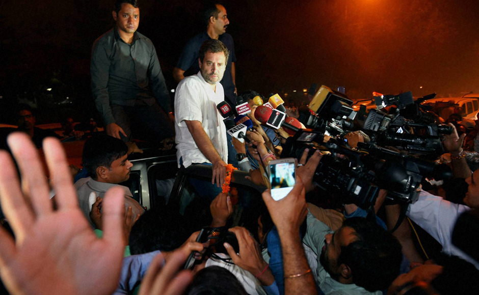 """Modiji is so scared that he has ordered his police to beat families of martyrs and detain political opponents,"" Congress said on its website after Rahul's detention. (Photo: PTI)"