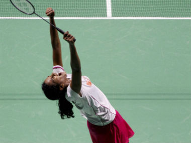 PV Sindhu exults after winning the China Open. PTI