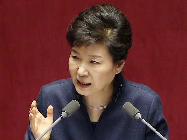 South Korean President Park Geun-hye delivers a speech at the National Assembly in Seoul, South Korea, Tuesday, Feb. 16, 2016. Park warned Tuesday that North Korea faces a collapse if it does not abandon its nuclear program, in unusually strong language that will likely infuriate Pyongyang. (AP Photo/Lee Jin-man)