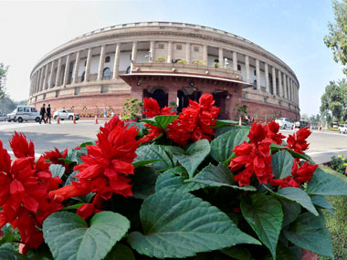 Flowers in full bloom at Parliament house during the winter session, in New Delhi on Wednesday. PTI