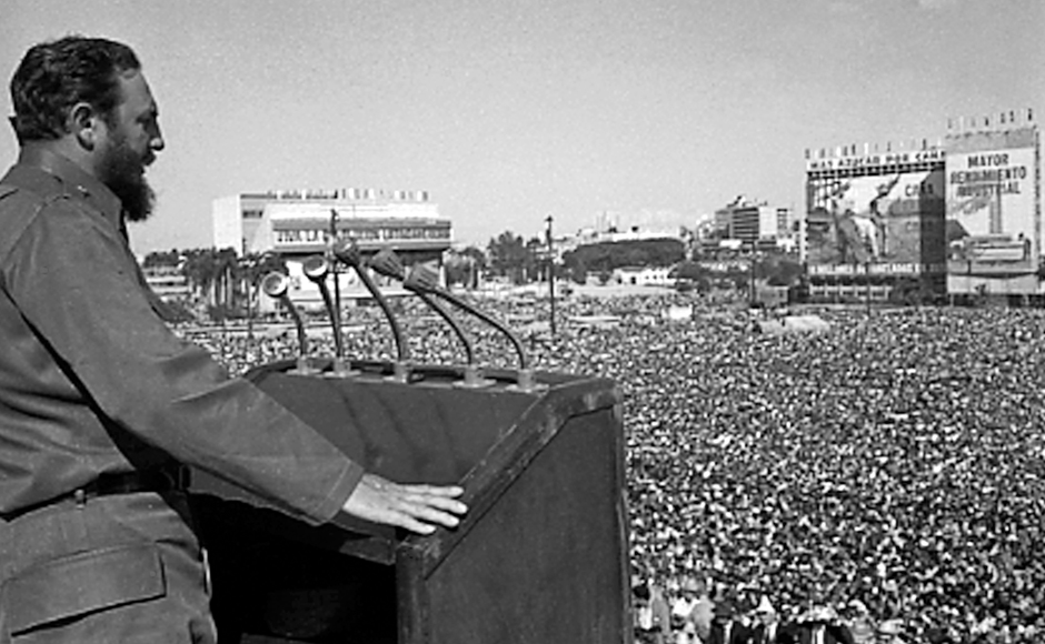 Fidel Castro addresses the crowd during an event at Revolution Square in Havana in this undated file photo. Castro held onto power as 11 US presidents took office and each after the other sought to pressure his regime over the decades following his 1959 revolution, which closed a long era of Washington's dominance over Cuba dating to the 1989 Spanish-American War. Reuters