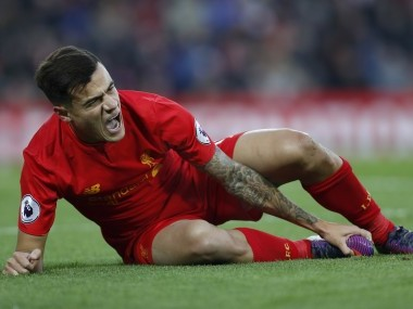 Liverpool's Philippe Coutinho reacts after sustaining an injury. Reuters