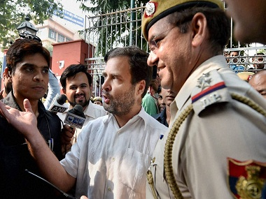 New Delhi: Congress Vice President Rahul Gandhi talks to the media outside RML Hospital after he was not allowed to enter the hospital to meet ex-serviceman Subedar Ram Kishan Grewal's family in New Delhi on Wednesday. Subedar Grewal allegedly committed suicide over OROP issue. PTI Photo by Vijay Verma (PTI11_2_2016_000083B)