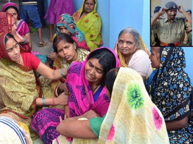 Bereaved family of chief constable who died in Monday's encounter in Bhopal. PTI