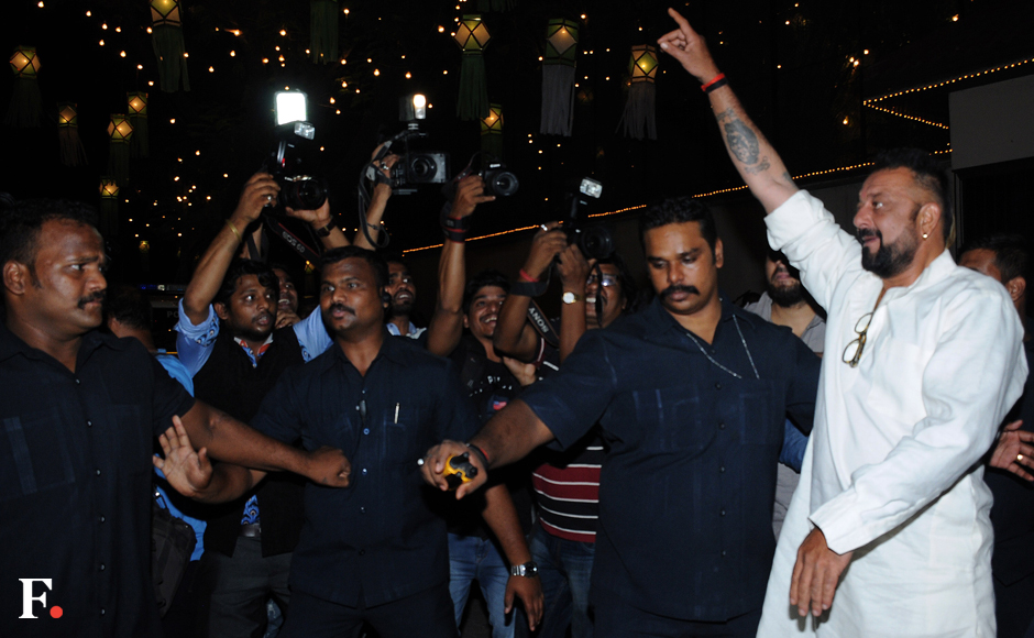 Fans let out a cheer as Sanjay Dut was spotted making his way to Jalsa. Image by Sachin Gokhale/Firstpost
