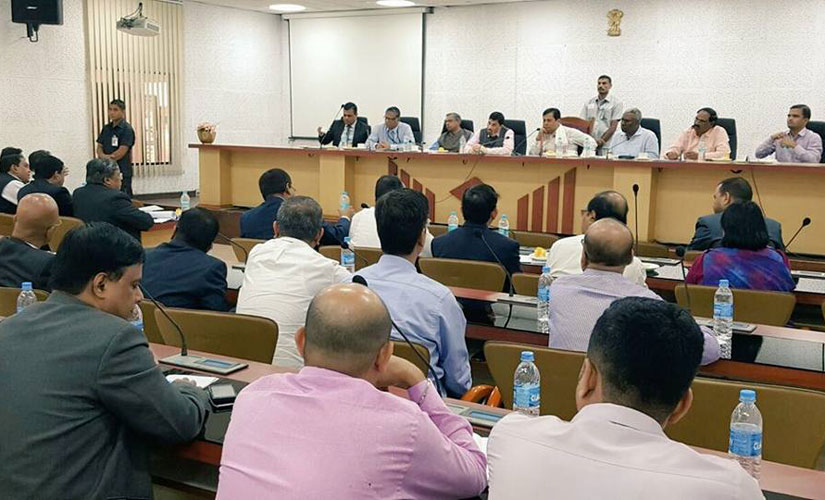 Assam Chief Minister Sarbananda Sonowal in a meeting with all the banks, tea garden associations and Assam Chah Mazdoor Sangha to discus the wage disbursal issue in the state's tea sector. Image courtesy Sonowal's Facebook page