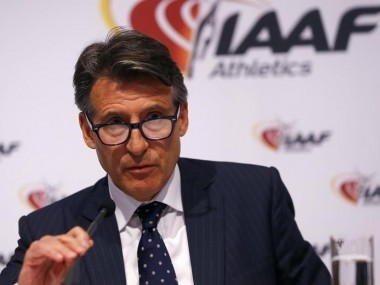 IAAF president Sebastian Coe attends a news conference. Reuters