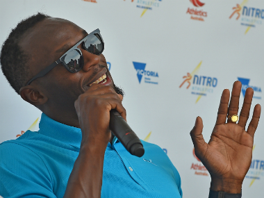 Usain Bolt at the launch of the athletics event in Melbourne. AFP