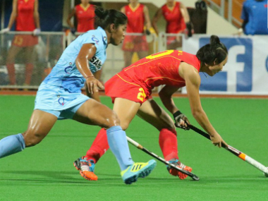 File image from the India-China match. Image credit: Twitter/TheHockeyIndia