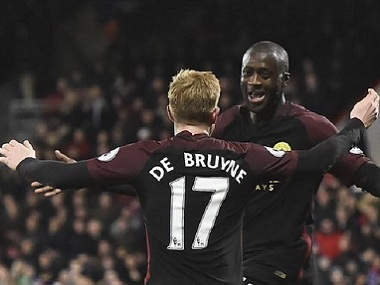 Manchester City's Yaya Toure and Kevin de Bruyne celebrate a goal against Crystal Palace. Reuters