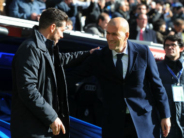 Real Madrid manager Zinedine Zidane (right) with Atletico counterpart Diego Simeone. Getty Images