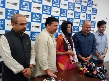 Suspended BJP leader and MP Kirti Azad's wife Poonam Azad. Photo courtesy: AAP Twitter