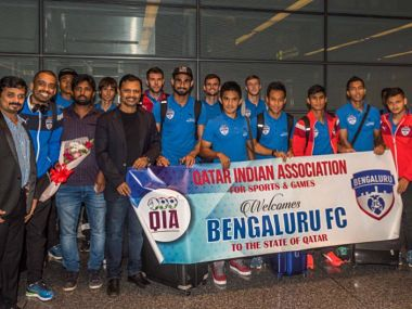 Bengaluru FC team arrives at Doha for the AFC final. Twitter courtesy: @bengalurufc