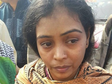 Kanpur: A bride-to-be who was travelling on the ill-fated Indore-Patna express that derailed in Kanpur Dehat and lost her father in the mishap, looks on inconsolably. PTI