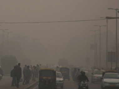 Streets of Delhi covered in smog. PTI