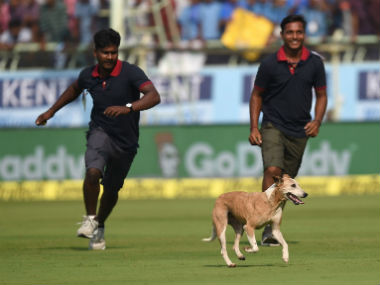 Scenes just before tea on Day 1 of the 2nd Test at Vizag. AFP