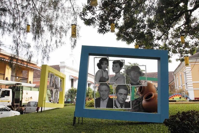 Pictures of Hollywood actors are put up to welcome guests on the eve of the 9 day-long 47th International Film Festival of India, in Panjim, Goa, on 19 November. Solaris Images