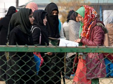 Students after their board exams in Srinagar on Monday. PTI