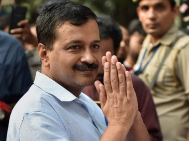 Delhi Chief Minister Arvind Kejriwal at Lady Harding Hospital after he was stopped at the hospital to meet the family of Subedar Grewal in New Delhi on Wednesday. PTI