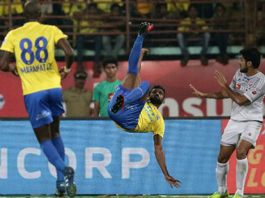 Action between Kerala Blasters FC and FC Pune City. ISL