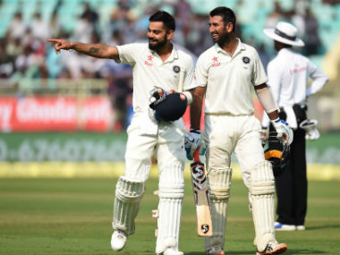 Kohli and Pujara steadied India after two early wickets. AFP