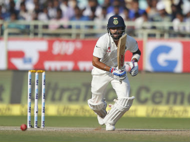 Indian captain Virat Kohli plays a shot during the 2nd Test against England in Vizag. AP
