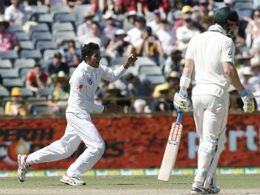 South Africa's Keshav Maharaj exults after taking an Australian wicket on the second day of the first Test. AP