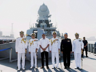 Defence Minster Manohar Parrikar and Chief of Naval Staff Admiral Sunil Lanba with other officers during the commissioning ceremony of INS Chennai in Mumbai on Monday. PTI