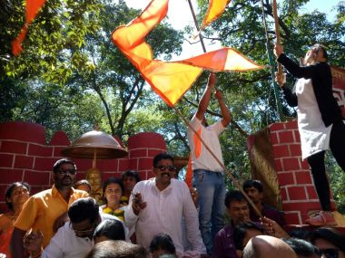 Shiv Sena party workers celebrate their election victory on Monday. Firstpost/Sanjay Sawant