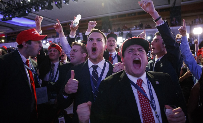 Donald Trump supports rejoice after the result. AP