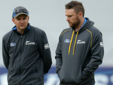 New Zealand coach Mike Hesson (L) and former captain Brendon McCullum. Reuters