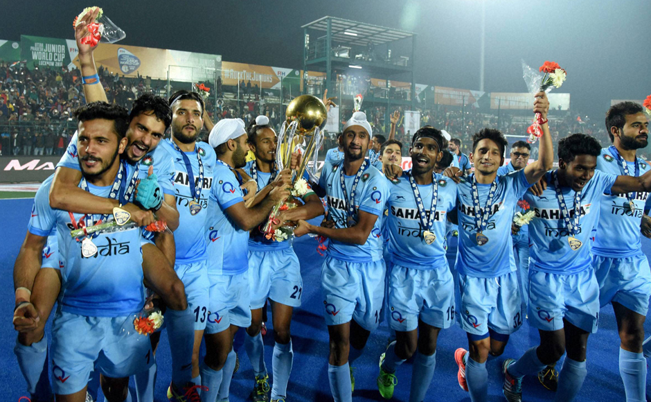 Indian players celebrate after beating Belgium to win Hockey Junior World Cup 2016