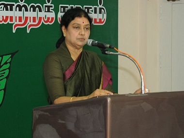 VK Sasikala on her first day as AIADMK general secretary. Image courtesy: tWITTER @AIADMKOfficial