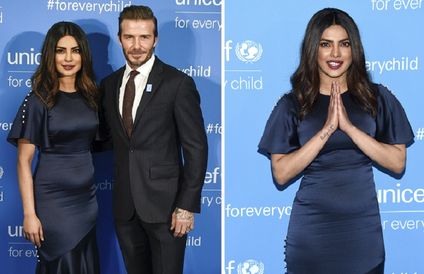 Priyanka Chopra shares stage with David Beckham Orlando Bloom at Unicefs 70th anniversary gala